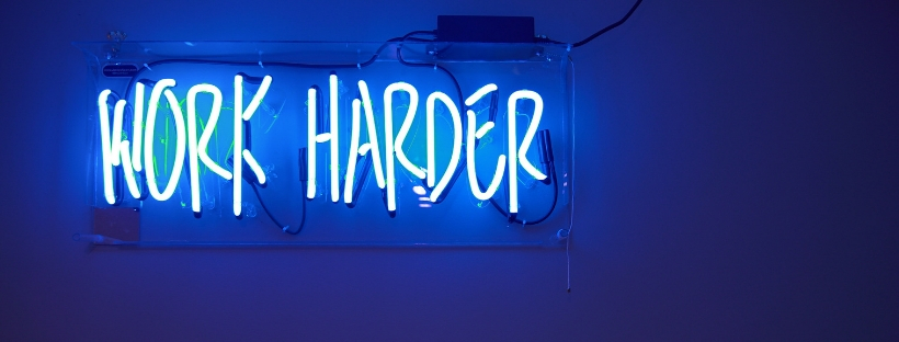 Neon Sign - Work Harder